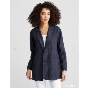Eileen Fisher Navy Linen Notch Chambray Jacket